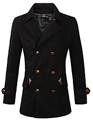 cheap -Men's Solid Casual / Work Coat,Cotton Long Sleeve-Black / Brown / Gray
