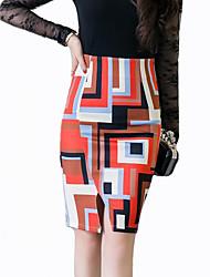 Women's Print Orange Skirts,Street chic Knee-length