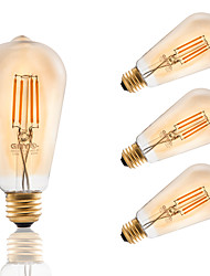 E26/E27 LED Filament Bulbs ST21 4 COB 300 lm Amber 2200 K Decorative Dimmable AC 110-130 V