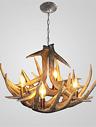 Vintage Antler Chandelier Lighting 4-Lights Easy Installation Resin Materials