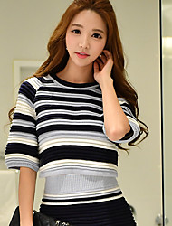 DABUWAWA Women's Going out / Holiday Vintage / Cute / Sophisticated Short Pullover,Solid / Striped Round Neck ½ Length Sleeve