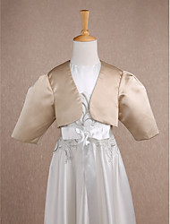 cheap -Satin Wedding Party Evening Kids' Wraps With Ruched Shrugs