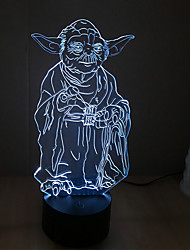 yoda touch dimming 3d led night light 7colorful decorazione atmosfera lampada novità luce di illuminazione