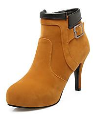お買い得  -女性用 靴 レザーレット 秋 冬 ブーティー ブーツ スティレットヒール プラットフォーム ベックル ジッパー のために オフィス&キャリア パーティー ブラック ベージュ イエロー