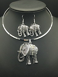 cheap -Women's Imitation Diamond Elephant Jewelry Set Earrings / Necklace - Luxury / Vintage Circle / Animal Silver Necklace / Earrings For