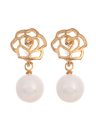 cheap -Women's / Girls' Flower Pearl / Gold Plated 1 Drop Earrings - Casual / Fashion / Imitation Pearl Gold Earrings For Casual