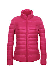 cheap -Women's Winter Solid Portable Light Down Coat Jacket,Simple / Street chic / Active Stand Collar Long Sleeve