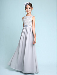 cheap -Sheath / Column Bateau Neck Floor Length Chiffon Lace Junior Bridesmaid Dress with Lace by LAN TING BRIDE®