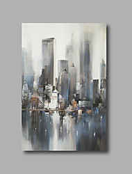 "Stretched (Ready to hang) Hand-Painted Oil Painting 36""x24"" Canvas Wall Art Modern Abstract City Building Bridge"