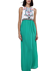 cheap -Women's Beach Boho Loose Dress - Color Block High Rise Maxi