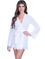 Women White Lace Trim Robe with Thong