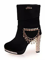 Women's Boots Summer Fashion Boots Fleece Casual Chunky Heel Beading Black / Blue