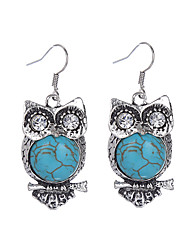 cheap -Bohemian Vintage Tibetan Silver Plated Crystal Rhinestone Animal Earring Fashion Turquoise Owl Earrings Jewelry