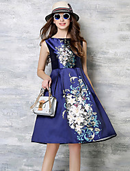 cheap -Women's Holiday / Going out Vintage / Street chic / Sophisticated Cotton A Line Dress - Floral