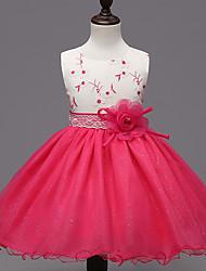 abordables -Robe Fille de Mosaïque Habillées Polyester Eté / Hiver / Printemps / Automne Rose / Rouge