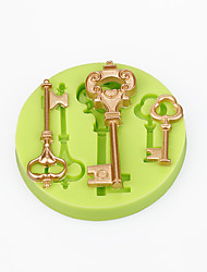 Cake Decorations Mould Baroque Vintage Style Keys Silicone Mold Chocolate Polymer Clay Sugarcraft Tools Color Random