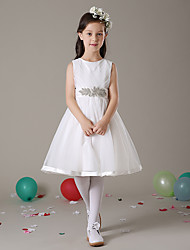 cheap -A-Line Knee Length Flower Girl Dress - Tulle Sleeveless Jewel Neck with Sash / Ribbon by LAN TING Express