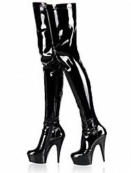 Da donna-Stivaletti-Tempo libero Formale Serata e festa-Plateau Stivali Club Shoes Light Up Shoes-A stiletto Plateau-Vernice-Nero