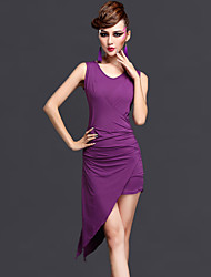 cheap -Latin Dance Dresses Women's Performance  Chinlon Draped 2 Pieces Black / Dark Purple / Fuchsia / Royal Blue Sleeveless