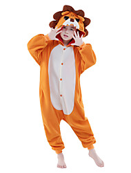 cheap -Kigurumi Pajamas Lion Onesie Pajamas Costume Polar Fleece Orange Cosplay For Children's Animal Sleepwear Cartoon Halloween Festival /