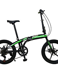 cheap -Folding Bike Cycling 7 Speed 20 Inch SHIMANO TX30 Double Disc Brake Springer Fork Monocoque Anti-slip Ordinary/Standard Steel