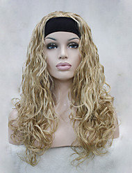 cheap -New Fashion 3/4 wig With Headband Golden Blonde Wavy Long Synthetic Women's Half Wig