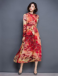 Women's Going out Sophisticated Swing Dress,Floral Stand Knee-length Long Sleeve Blue / Red / Green / Purple Silk Fall