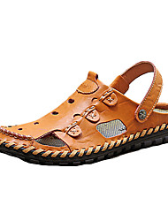 Sandaler-KunstlæderHerre-Sort Gul Khaki-Fritid-Flad hæl