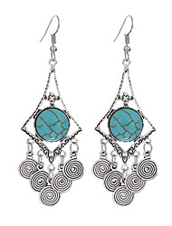 cheap -Vintage Big Doughnuts Shape Geometric Earrings Turquoise Beads Statement Earrings Jewelry