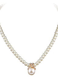 cheap -Women's Cute Party Work Casual European Fashion Choker Necklace Pendant Necklace Pearl Rhinestone Silver Plated Gold Plated Alloy Choker