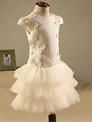 Vestito dalla ragazza del fiore della lunghezza del ginocchio / colonna della collana - collo del gioiello delle maniche corte del merletto