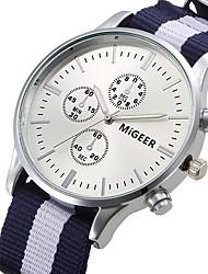 baratos -Homens Relógio de Pulso Venda imperdível / / Tecido Banda Casual Branco / Azul / Vermelho / Aço Inoxidável / Jinli 377