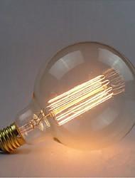 e27 40w g125 lâmpada de arame liso edison lâmpada retro bulbos decorativos