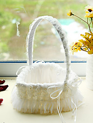 cheap -White Heart Shape Lace Decoration Flower Basket for Wedding Party(17*24cm)