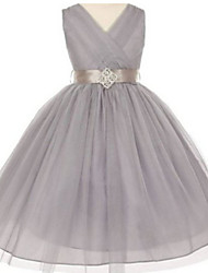 Ball Gown Tea Length Flower Girl Dress - Tulle Sleeveless V-neck with Crystal Detailing by thstylee