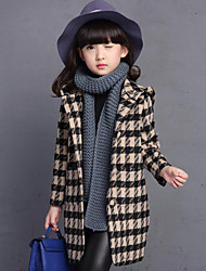 cheap -Girls' Daily Plaid Jacket & Coat,Rayon Winter Spring Fall Long Sleeve Check White Gray Red