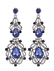 cheap -Vintage Luxury Hollow Geometric Blue White Crystal Water Drop Earrings Long Dangle Earrings For Women Statement Jewelry