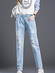cheap -Women's Casual Jeans Pants - Solid Colored