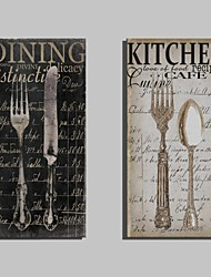 cheap -E-HOME® Stretched Canvas Art Metal Cutlery Decorative Painting Set of 2
