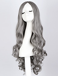 "cheap -Fashion Long Curly Smoke Gray Wig 28"" Long Curly Blue Hair Wig Synthetic Anime Hair Cosplay Wigs for Women"