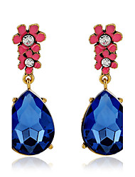 cheap -Top Quality Fashion Luxury Flower Earring Blue Crystal Water Drop Earrings For Women Jewelry pendientes