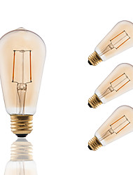 E26/E27 LED Filament Bulbs ST19 2 COB 180 lm Amber 2200 K Dimmable Decorative AC 110-130 V