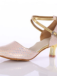Women's Latin Leatherette Heels Indoor Customized Heel Blushing Pink Customizable