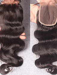 cheap -100% Hand Tied Body Wave Free Part / Middle Part / 3 Part Swiss Lace Human Hair