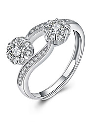 cheap -Fine Sterling Silver Roses Diamond Statement Ring for Women Wedding Party