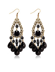 Hot Sale Vintage Fashion Black Water Drop Earrings From India Bohemian Long Earrings For Women Jewelry