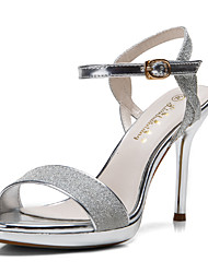 cheap -Women's Shoes Glitter Summer Sandals Stiletto Heel Sequin Buckle Hollow-out for Party & Evening Dress Silver Glod