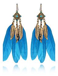 economico -Gli orecchini della piuma del rhinestone dei monili degli orecchini di goccia di fascino dell'annata della Boemia dell'estate di 3 colori per le donne