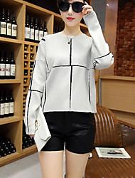 economico -Standard Pullover Da donna-Casual Semplice A scacchi Bianco Nero Rotonda Manica lunga Pelliccia di coniglio Primavera AutunnoMedio