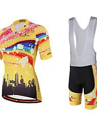 Miloto Maillot et Cuissard à Bretelles de Cyclisme Femme Manches Courtes Vélo Cuissard à bretelles Shirt Maillot Collant à